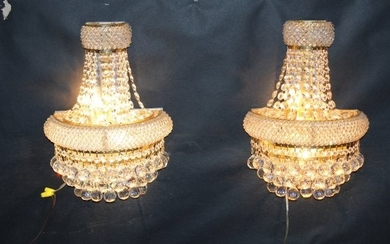 Pair of Empire style beaded crystal wall sconces