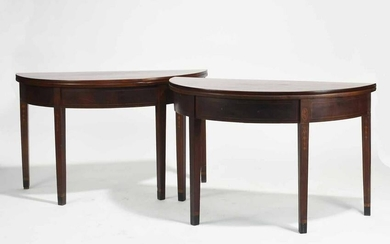 Pair of Federal Inlaid Demilune Tables