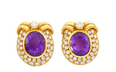 Pair of Gold, Amethyst and Diamond Earclips
