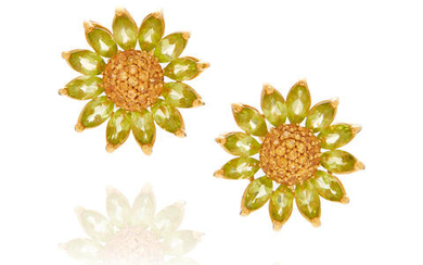 Pair of Gold, Peridot and Citrine Ear Clips