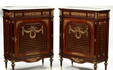 Pair of Louis XVI Style Inlaid Cabinets.
