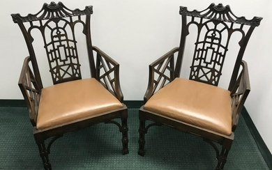 Pair of Mahogany Chinese Chippendale Style Chairs