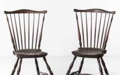 Pair of Red/brown-painted Fan-back Windsor Chairs