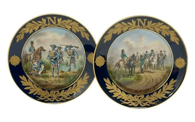 Pair of Sevres-Style Plates with Napoleonic Views