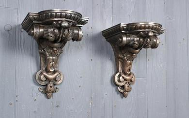 Pair of Silvered Bronze Wall Shelves Signed Oudry