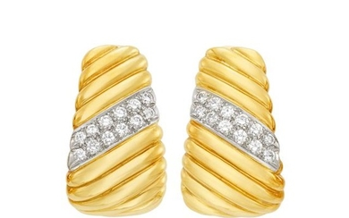 Pair of Two-Color Gold and Diamond Hoop Earclips