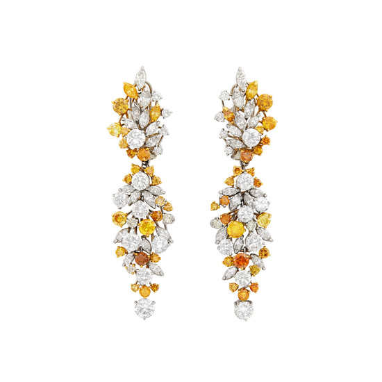 Pair of White Gold, Diamond and Colored Diamond Pendant-Earclips with Gold Brooch Jackets/Stud Earring Combination