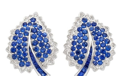 Pair of White Gold, Sapphire and Diamond Leaf Earclips, Salavetti