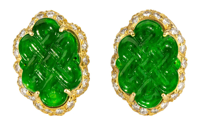 Pair of jadeite, diamond, 18k yellow gold earrings