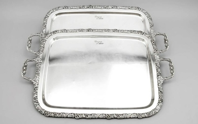 Pair of large trays, 20th
