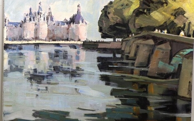 """Pierre LORTHIOIR (1937-2010) """"Chambord, the lake and the park"""", oil on canvas, signed lower left, 81 x 100 cm"""