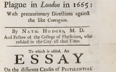 Plague.- Hodges (John) Loimologia: or, an Historical Account of the Plague in London in 1665, first edition in English, 1720, bound with another, also on the Plague.