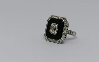 "Platinum and Onyx diamond ""French"" ring circa 1930"