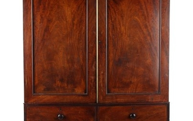 Property of a lady - a George III mahogany two-part linen pr...