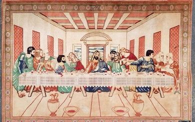 Qum Silk Pictorial Carpet, with the scene of the Last Supper, with signature panel to top (146 x 100cm)