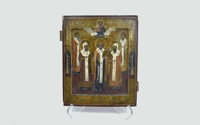 RUSSIAN PAINTED AND PARCEL GILT ICON OF SAINTS