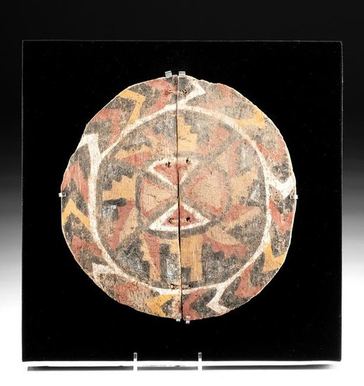 Rare Huari Polychrome Carved / Painted Wood Shield