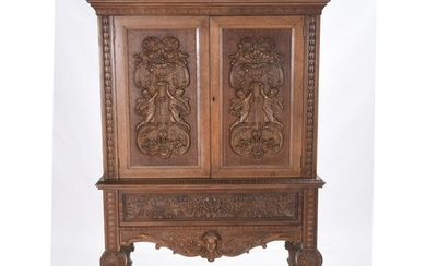 Renaissance Revival Style Carved Mahogany Cupboard.