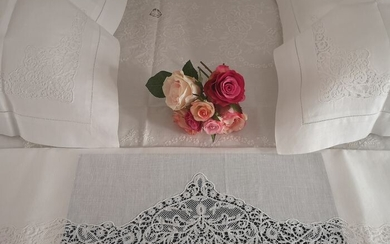 Rich pure linen sheet with hand Cantu embroidery - Linen - AFTER 2000