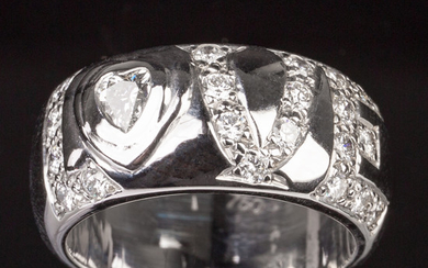 Ring of 750 white gold with brilliant cut diamonds, 'Love'