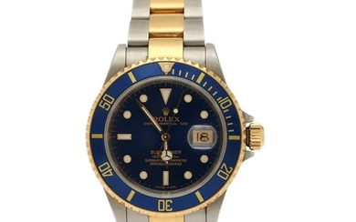 Rolex: A gentleman's wristwatch of 18k gold and steel. Model Submariner, ref. 16613. Mechanical movement with automatic winding, cal. 3135. 2008.