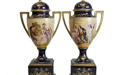 Royal Vienna Austria Double Handled Urns, c1900. Signed