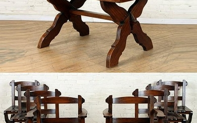 SET 8 BRAZILIAN WOOD DINING CHAIRS & TABLE C.1960