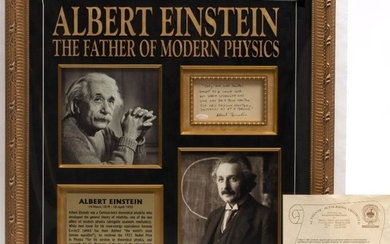 SIGNATURE OF ALBERT EINSTEIN UNDER HAND-WRITTEN MESSAGE 'Only one...