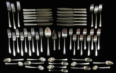 "SILVER: Towle sterling flatware service, ""Craftsman"" pattern, fifty-four pieces, including: twelve knives with stainless blades (eac..."