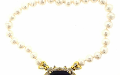 STUNNING 18k Yellow Gold, Pearl & Amethyst Necklace