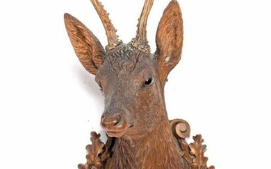 Schwarzwalder wood carving of deer head for the wall