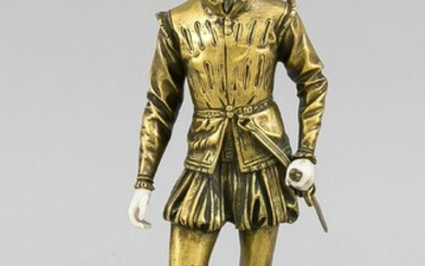 Sculptor around 1900, Chryselephantine figure of a Spanish or Italian young nobleman in the Renaissance style around 1550, gilded bronze and ivory, one thumb glued, marble plinth glued, unsign., total H. 26 cm