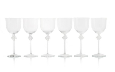 "Set of 6 Lalique ""Roxane"" Water Goblets"