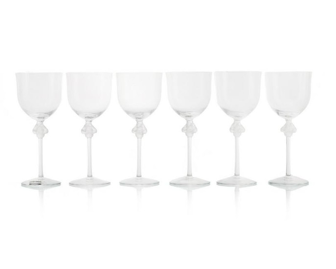 """Set of 6 Lalique """"Roxane"""" Water Goblets"""