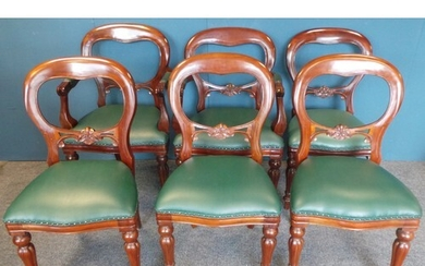 Set of 6 x Reproduction Mahogany Balloon Back Chairs with gr...