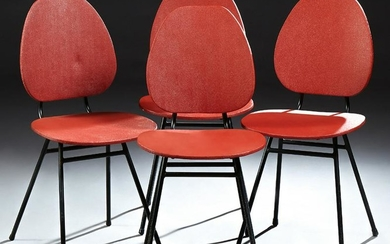 Set of Four French Mid Century Modern Dining Chairs, c.