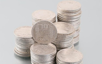 Set of eighty three silver coins 10 Francs...