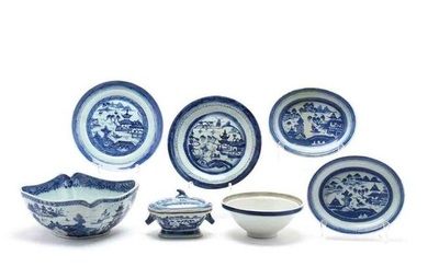 Seven Pieces of Chinese Export Blue Canton