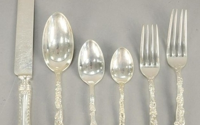 Seventy one piece sterling silver flatware set, to