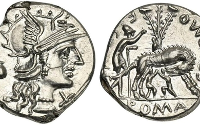 Sex. Pompeius Fostlus, Denarius, Rome, 137 BC. AR (g 3,99; mm 20; h 10). Helmeted head of Roma r.; capis to l., denomination mark before, Rv. She-wolf standing r., head l., suckling the twins (Remus and Romulus); to l., shepherd Faustulus standing r.;...