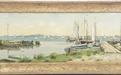 Signed Ortelee, Jac, View of a lake with sailing boats