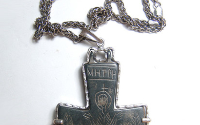Silver pendant with a large Byzantine bronze encolpion