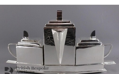 Silver plated tea set, Art Deco in style, comprising teapot,...