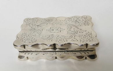 Silver snuff box, rectangular with waved edges, engraved all...