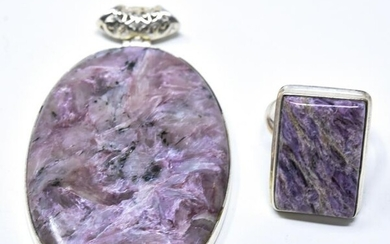 Sterling & Purple Stone Ring & Necklace Pendant