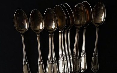 Suite of 12 mocha spoons in 950 °/°° silver with leaf decoration, goldsmith Ravinet d'enfert, Weight: 165g