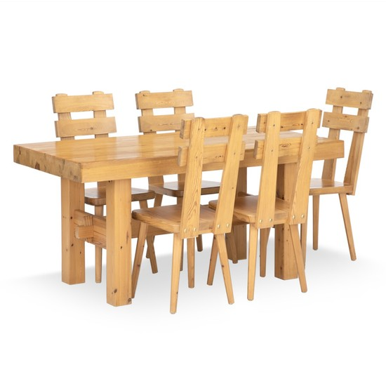 Swedish furniture design: Dining set of solid pine. Comprising a rectangular table and five chairs. (6)