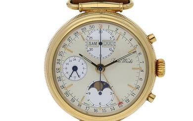 Swiss. A Yellow Gold Chronograph Wristwatch with Moon Phases, Day and Date