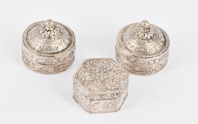 THREE ASIAN SILVER PILL BOXES