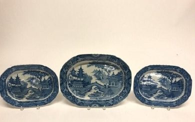 THREE STAFFORDSHIRE CANTON PATTERN PLATTERS